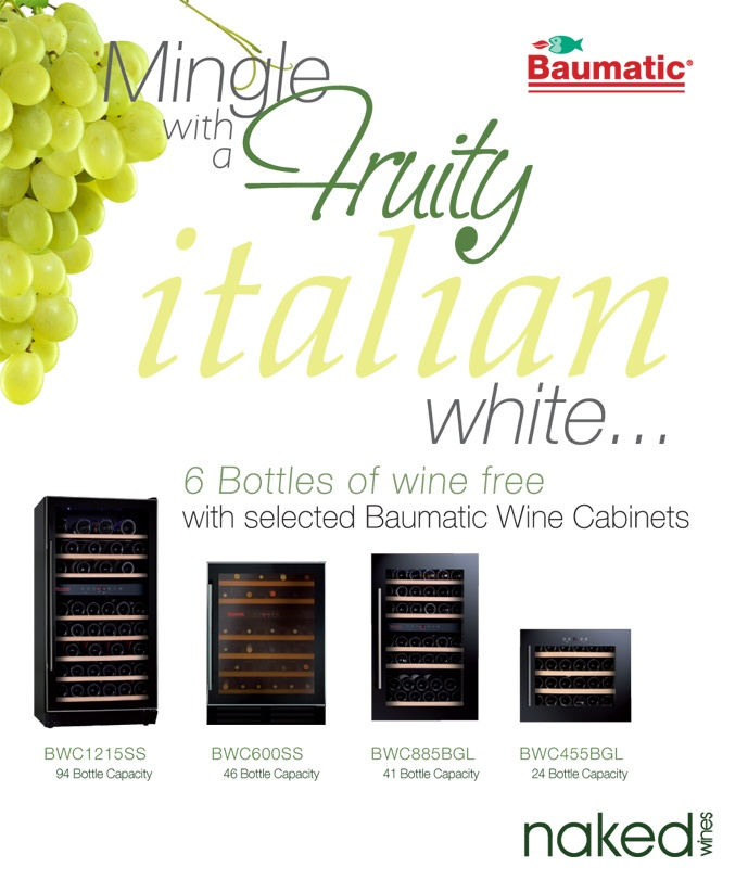 Baumatic has teamed up with Naked Wines to offer you a complimentary set of 6 bottles of wine, when you purchase a promotional Baumatic Wine Cooler. The 4 promotional chillers: BWC1215SS 94 Bottle Dual Temperature Wine Cabinet, BWC600SS 46 Bottle Dual Temperature Wine Cabinet, BWC885BGL 41 Bottle Dual Temperature Built-in Wine Cabinet, BWC455BGL 24 Bottle Dual Temperature Built-in Wine Cabinet. Find out where u can buy these wine coolers in your area…