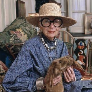Iris Apfel.  Hat, big jewelry, big glasses
