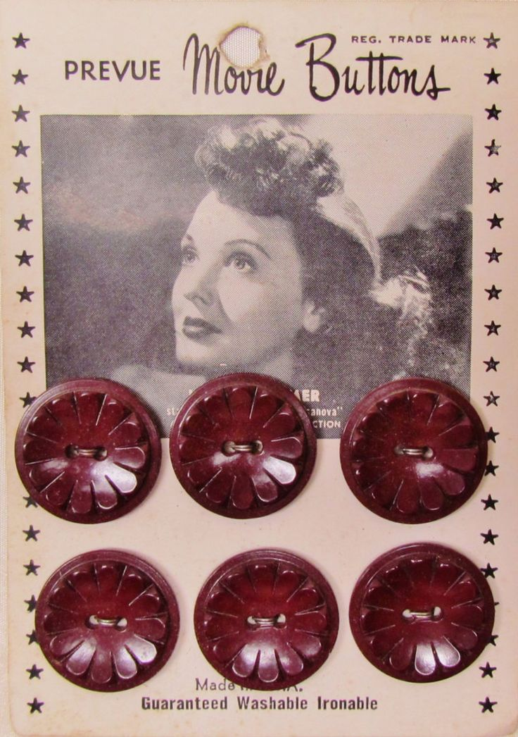 "Vintage Movie Star Buttons card featuring photo of Lucille Bremer, starring in ""Adventures of Casanova"" 1948"