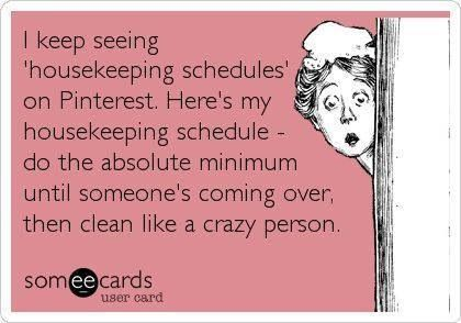 Cleaning schedule This is so me!!!!!!!!
