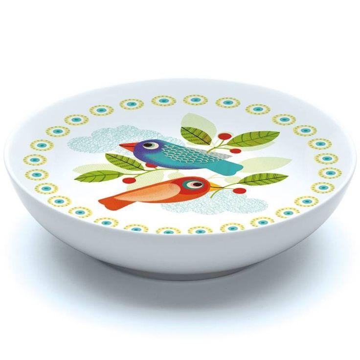 Zeer soepbordje uit porcelein, beschilderd met 2 kleurrijke vogels.