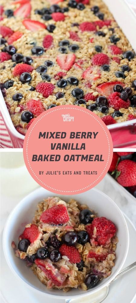 Part of what's great about this baked oatmeal recipe from Julie's Eats and Treats is how versatile it can be. She uses raspberries, blueberries, and strawberries, but really, the vanilla-flavored oat base is perfect for any fruits or berries you might have on hand.