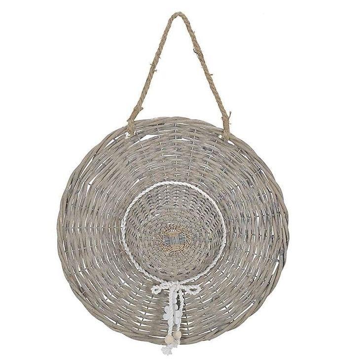 WOODEN WILLOW DECO HAT IN GREY-BEIGE COLOR 41Χ10Χ41/59 - inart