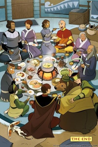 Things I love about this: •Momo in a food coma •Sokka's face •Zuko is scared of Bosco •Pakku waterbending his tea •Kanna staring at him •Aang and Katara being adorable •Kuei hugging Bosco •Toph looks like she's laughing at the fact that the Fire Lord...