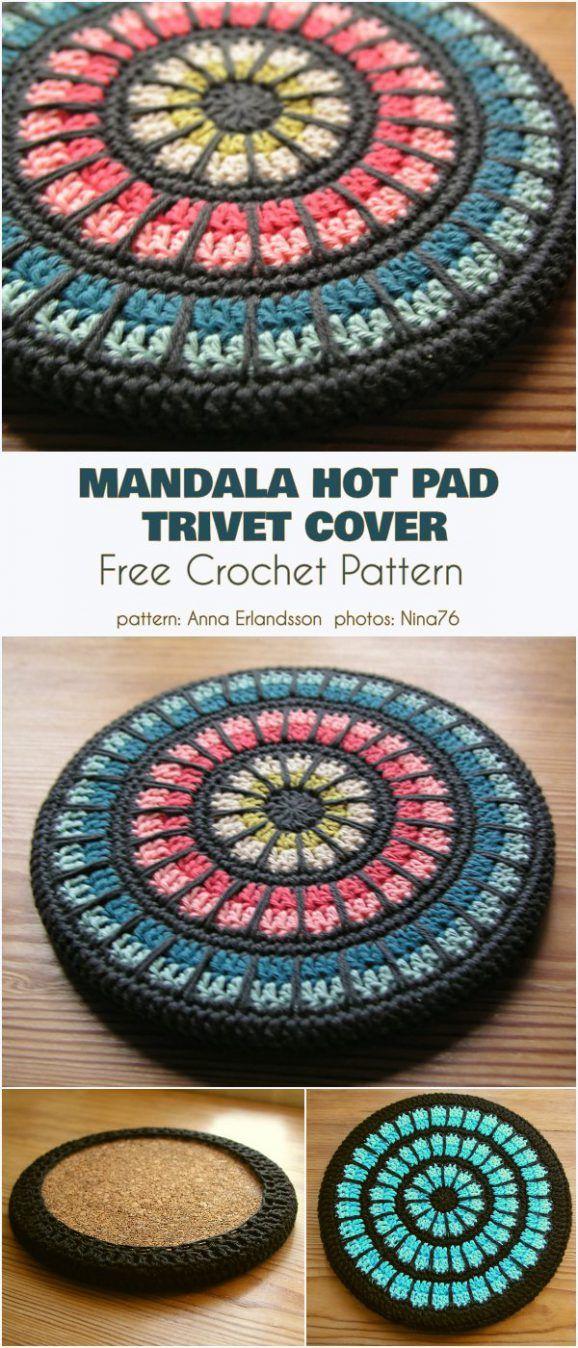 Mandala Hot Pad Trivet Cover Free Crochet Pattern
