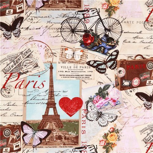 beige Vintage Paris Eiffel Tower fabric Timeless Treasures 6,45