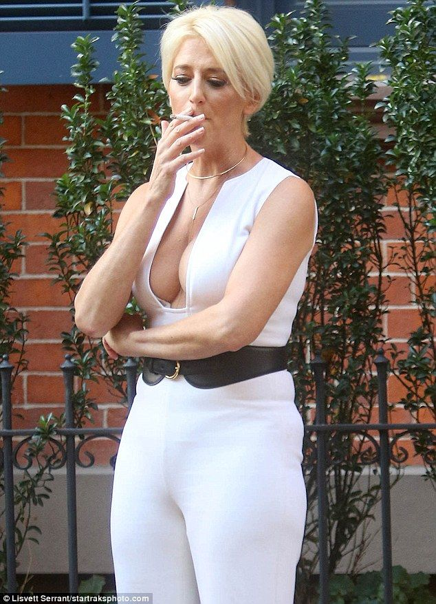 Smoke break: Dorinda Medley was seen puffing on a cigarette while filming for the ninth se...