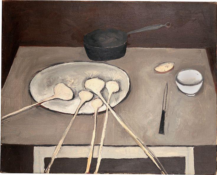William Scott, Still Life with Garlic, 1949 or 1950[?], Oil on canvas, 64.3 × 80.7 cm / 25¼ × 31¾ in, Fermanagh County Museum, Enniskillen