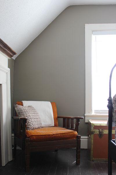 Benjamin Moore Bm Copley Gray Bedroom With Orange Accents