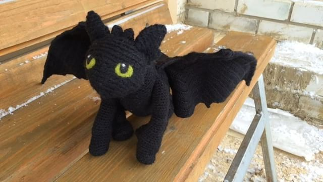 "Night fury, Teethless from ""How to train your dragon"" Amigurumi. Crochet. #teethless #crochet #amigurumi #dragon"
