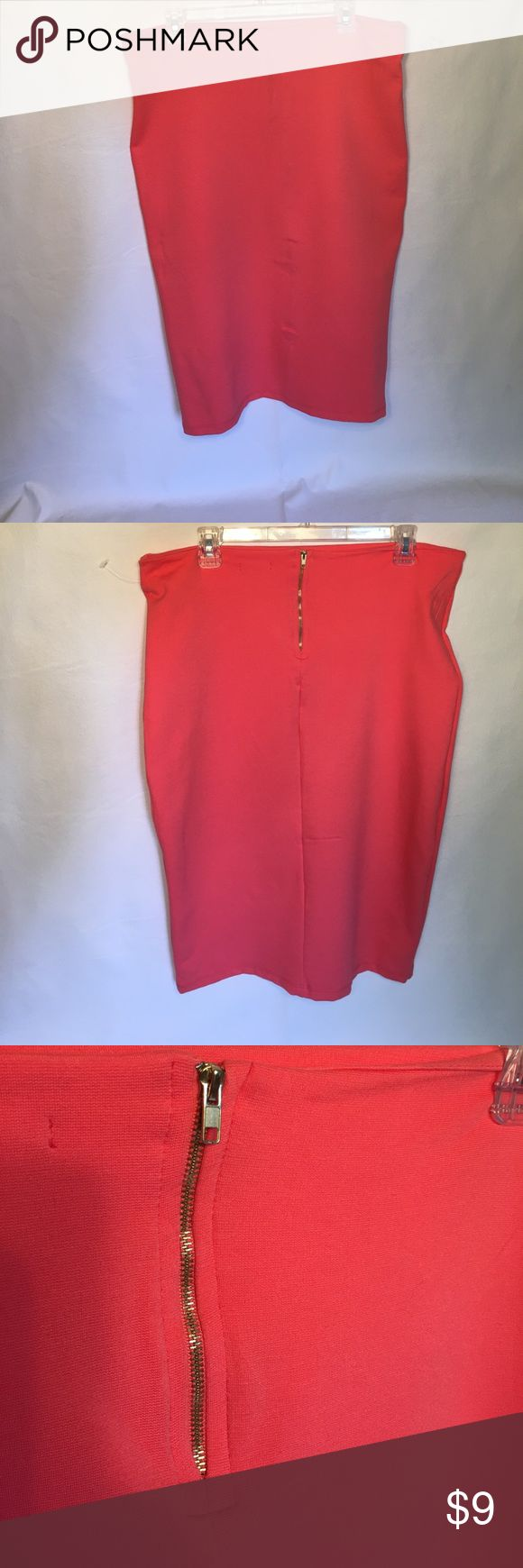 Coral pencil skirt Coral pencil skirt 28in from waist to bottom hem Can easily be dressed up or down. Cute for Spring or Summer! Skirts Pencil