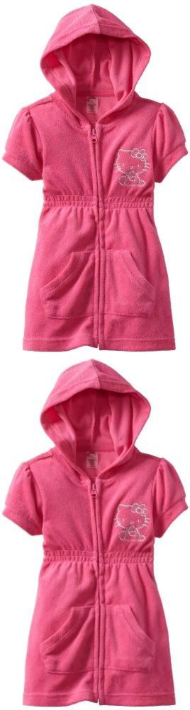 Hello Kitty Girls 2-6X Terry Hoodie Zipper Cover Up, Pink, 2T pink. terry hoodie zipper dress.  #Hello_Kitty #Apparel