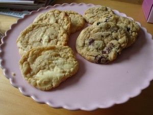 Millie's cookies just made them with 1/2 white and 1/2 milk chocolate - yummy!