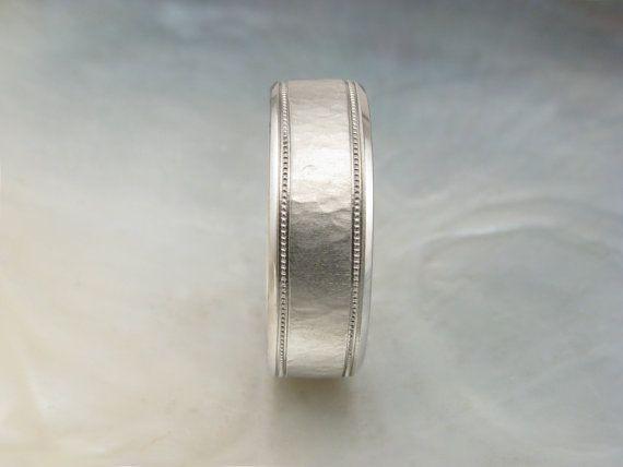 mens platinum wedding band, textured with milgrain -- 7mm wide platinum wedding ring for men -- hand forged by Ravens' Refuge