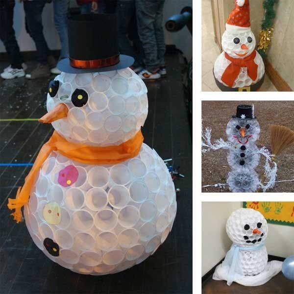 Snowman with plastic glasses.
