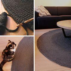 Een stoer rond vloerkleed. Maak m zelf met Zpagetti van Hooked. Beschrijving op www.homestory.nl/haken