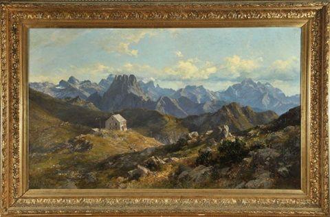 Edmund-Probst-Haus am Nebelhorn mit Blick über die Allgäuer Alpen , 1893 - Edward Theodore Compton