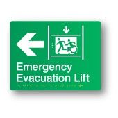 Emergency Evacuation Lift - Left, Braille Sign Supplies Accessible Exit Sign http://braillesignsupplies.com.au/stock-sign-categories/brailleform/egress.html Part of the Accessible Exit Sign Project #accessibleexitsigns