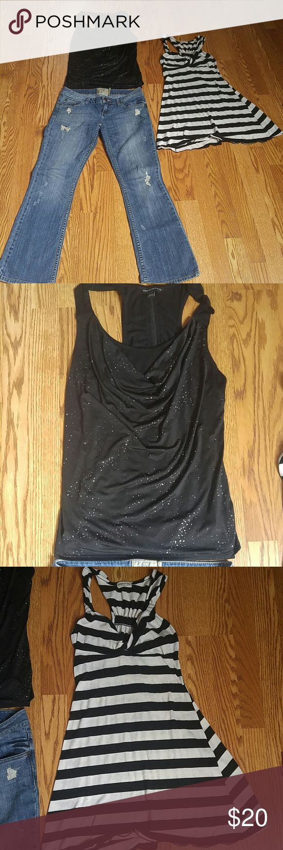 Bundle of 3!!! American rag jeans ,dress . Rock R One pair American rag jeans! Size 35. worn few time's good condition,does have couple spots on it . shown in pic One American rag dress top greatly worn! Has a spot on it and piling of fabric makes a good beach cover up! One Rock Rebulic top worn but good condition! Medium American Rag Pants
