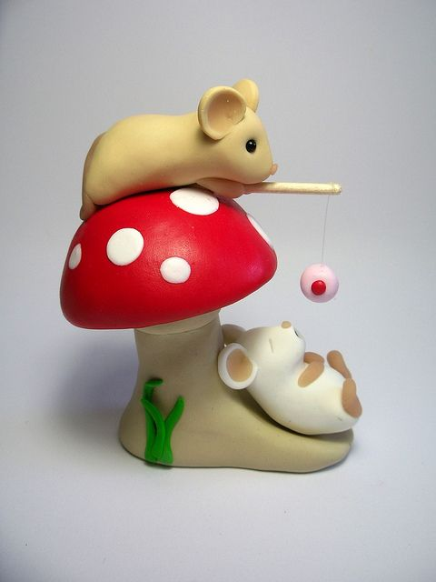 Made with Polymer Clay but inspiration for needle felting