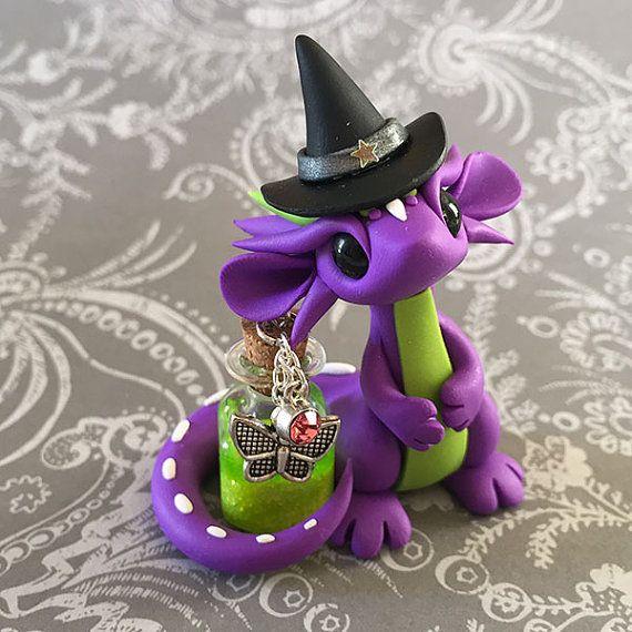 Witch Dragon with Flight Potion von DragonsAndBeasties auf Etsy