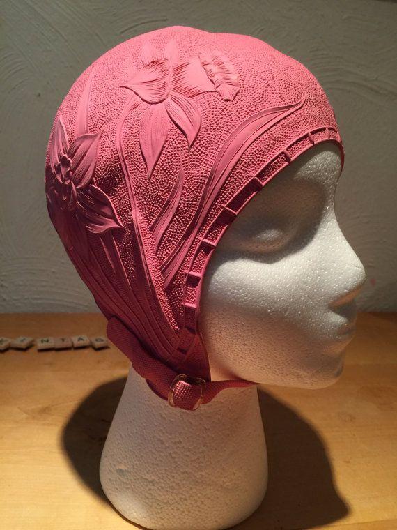 1950 S Pink U S Howland Swim Cap Hair Dry Vintage Swim