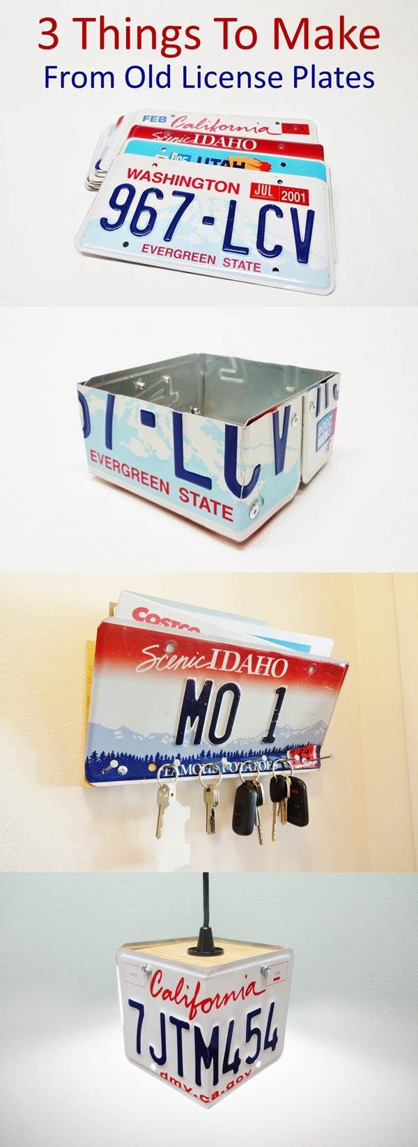 Key and mail holder, simple box, and pendant lamp. Make one of these great projects with an old license plate!