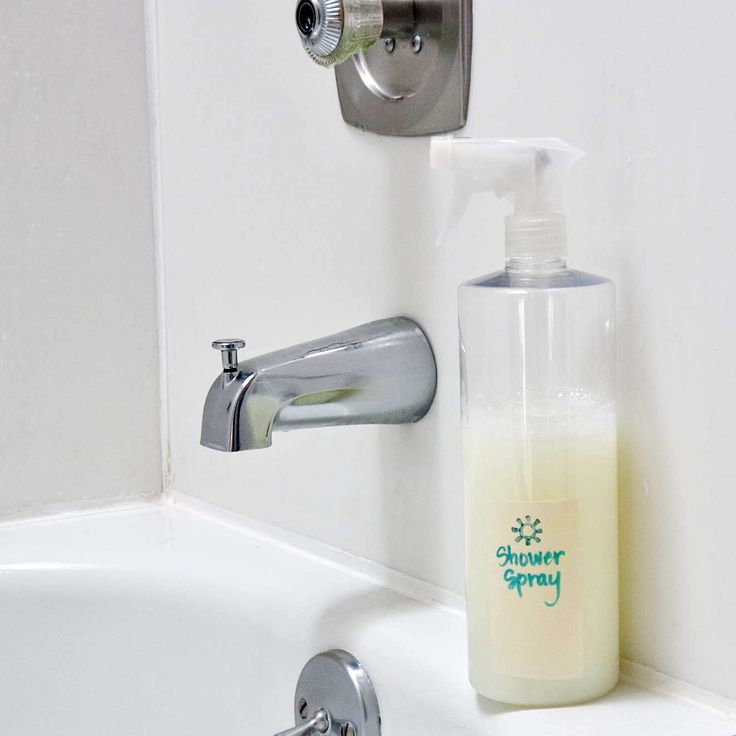 Use this DIY shower spray between deep cleanings to keep your shower and tub clean and reduce the scrubbing needed.