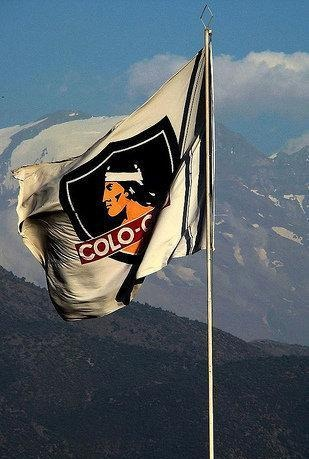 Flag of Chilean soccer team Colo Colo. Named after a Mapuche Chief