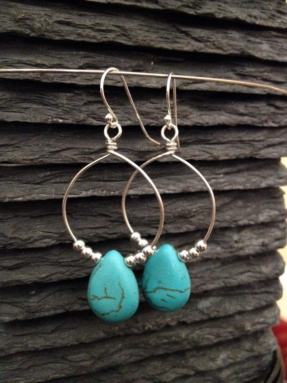 Sterling Silver & Turquoise Chandelier Earrings