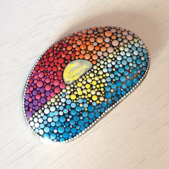 Garden Ornaments – Sunset Dotart painted Rock – a unique product by CreateAndCherish on DaWanda