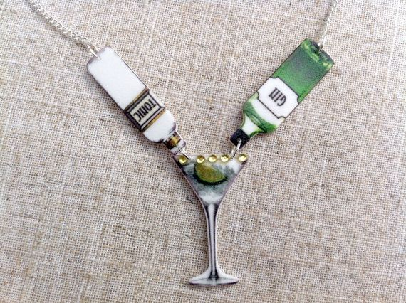 Gin and tonic cocktail necklace by Ohyouprettythings77 on Etsy