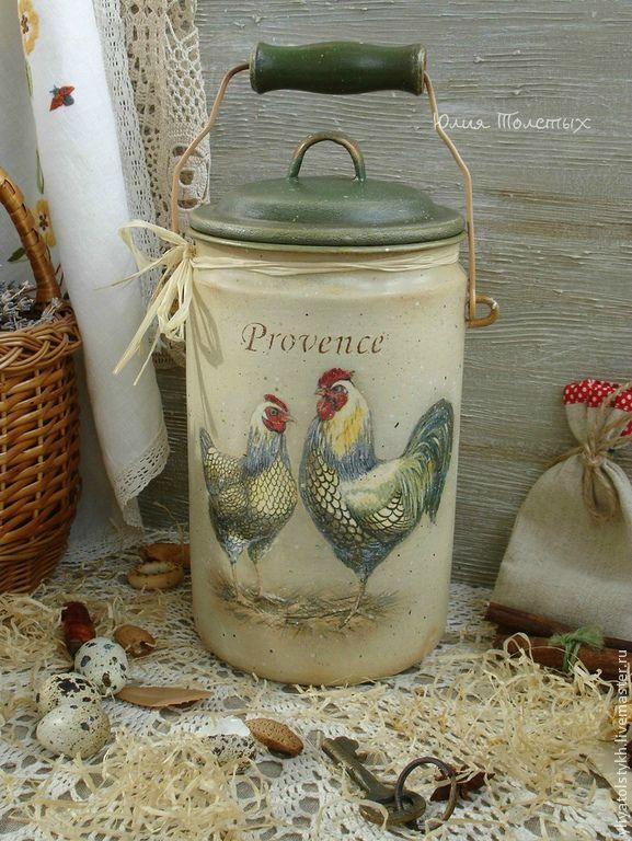 "Купить Винтажный бидон ""Provence"" - разноцветный, бидон, бидончик, бидон декупаж, прованс, куры"