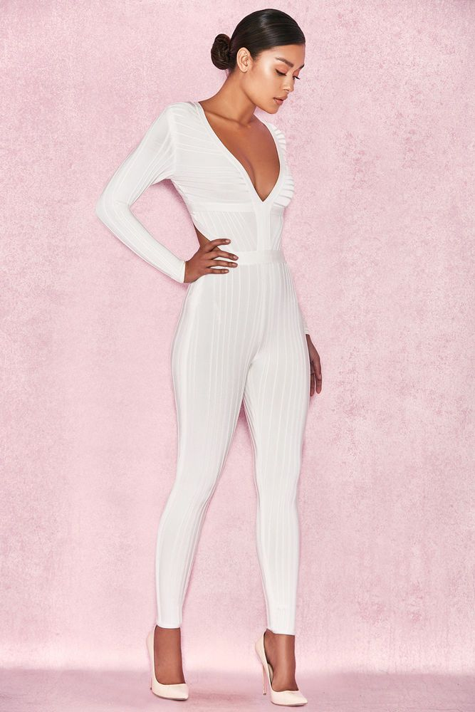 28f07aaae758 HOUSE OF CB  Arya  White Plunge Neck Jumpsuit L 12   14 SG 069  fashion   clothing  shoes  accessories  womensclothing  jumpsuitsrompers (ebay link)