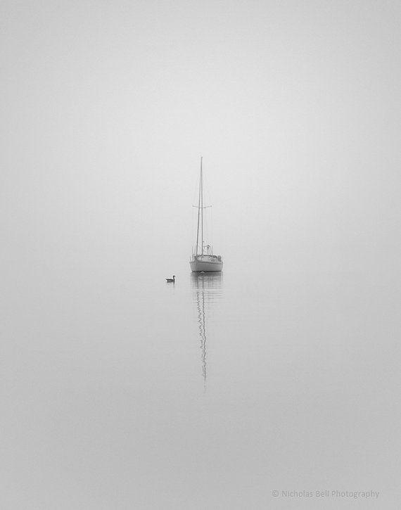 nautical photography, black and white, fog, minimal, minimalist, sailboat, sailboats, COMPANIONS_11 x 14  print