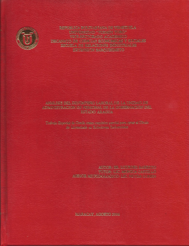 TESIS DE GRADO DE LA GOBERNACION DEL ESTADO ARAGUA  VENEZUELA.    THESIS DEGREE OF VENEZUELA ARAGUA State Government.