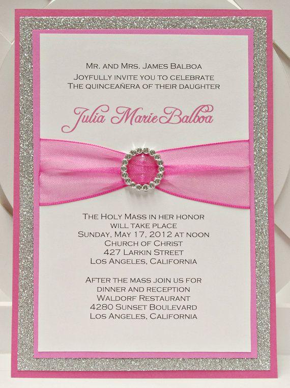 Custom Handmade Pink & Silver Glitter Sweet Sixteen (16) Quinceanera Invitations with Pocket via Etsy