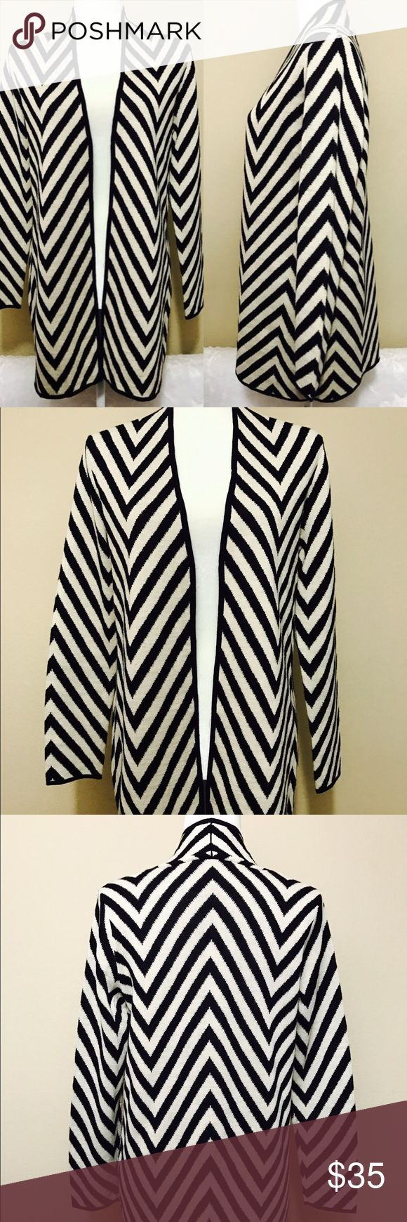 Kasper striped chevron open front cardigan Great condition Kasper Sweaters