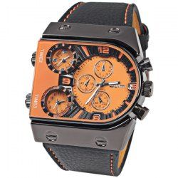 Top Brand Oulm Multi-Function 3-Movt Quartz Leather Wrist Watches for Men - Orange