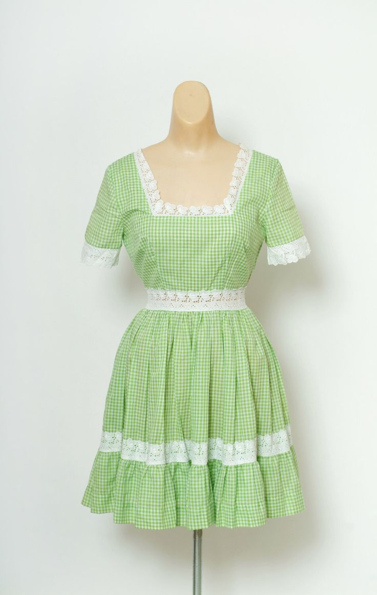 Excited to share the latest addition to my #etsy shop: Vintage Dress / Checkerboard White & Green / 60s /  Square Dancing Country Western Dress /  circle skirt dress