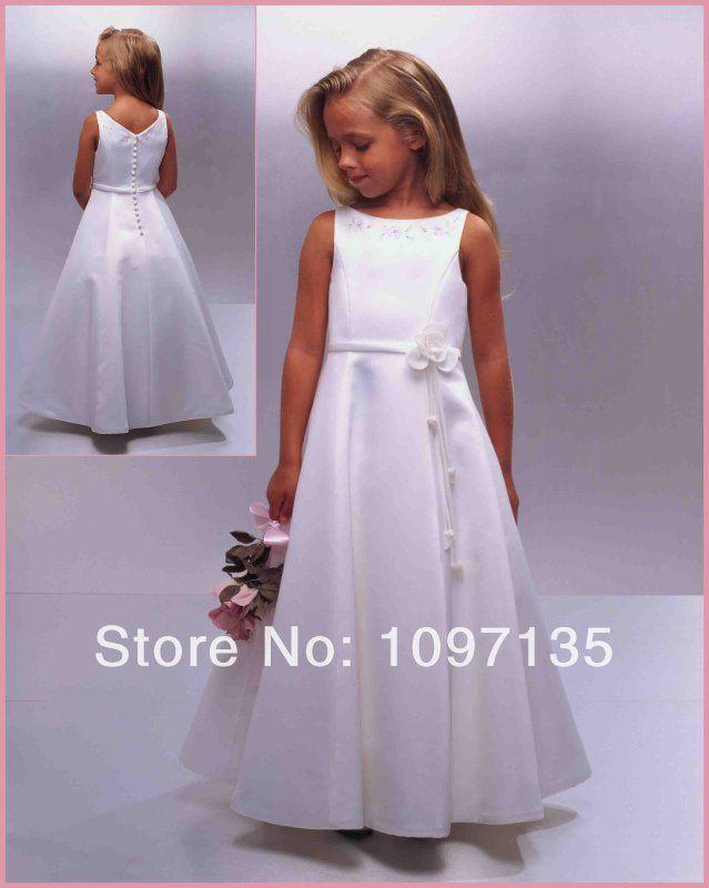 Pretty 2014 A-Line Scoop Sleeveless Flower Floor Length Long White Satin First Communion Dresses for girls/Kids US $65.00 - 89.00