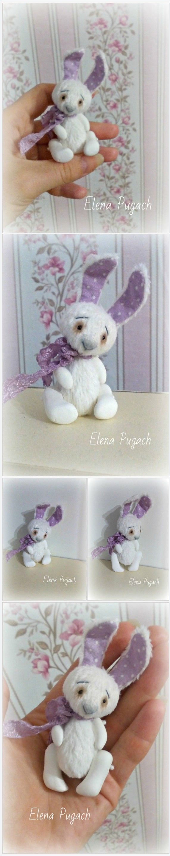 Big sale! Mini teddy bunny Lavender Marshmallow with paws molded from clay Gift Teddy toy Stuffed elephant Gift for her