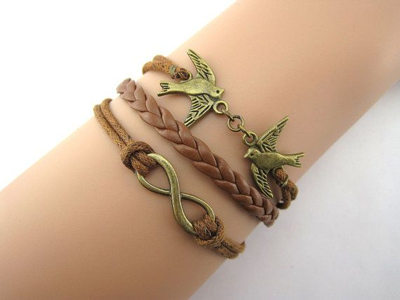 Bracelet, peace dove, wax line, woven leather, antique silver, the maid of honor, boyfriend, girlfriend.B2 on Etsy, $4.99