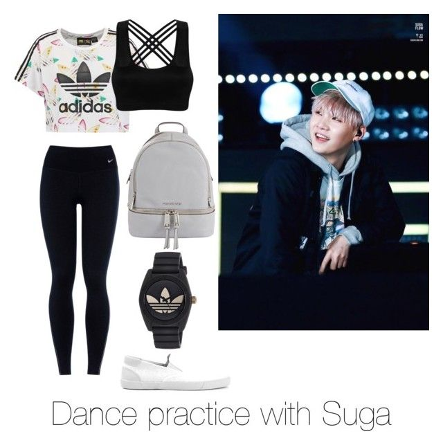 """""""Dance practice with Suga"""" by bts-outfit-imagines on Polyvore featuring adidas Originals, NIKE, Topman, adidas and MICHAEL Michael Kors"""