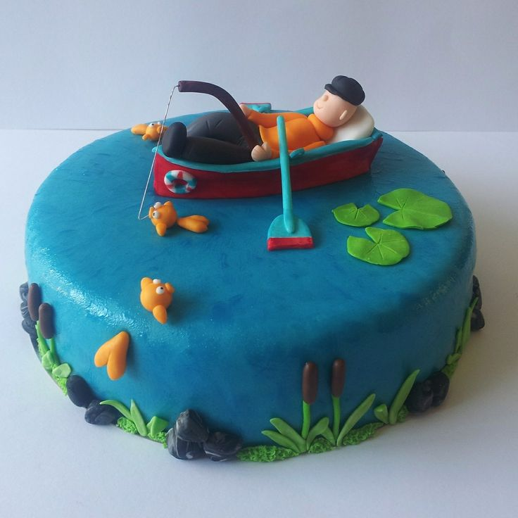 Gone out fishing - A cake for a man who really like fishing, It's a cake from the new book of Wendy Schlagwein.