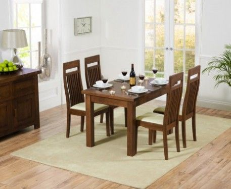 Normandy 120cm Dark Solid Oak Extending Dining Table with Monaco Chairs.
