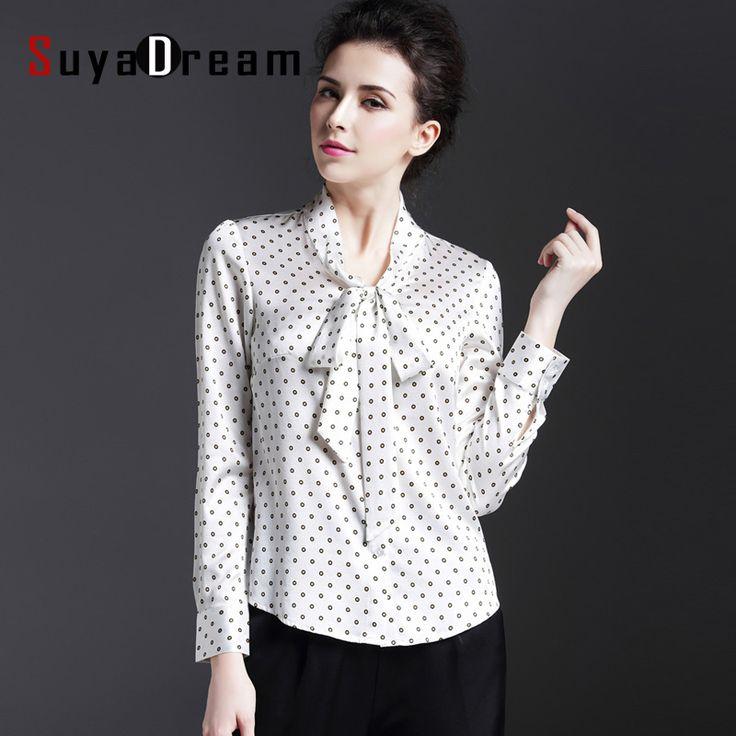REAL SILK blouse Women long sleeve Dots print Bow collar Blouses Silk satin  Blusas femininas Office lady STRETCH 2016 NEW