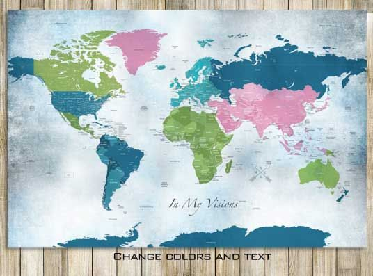 232 best carte du monde images on pinterest cards worldmap and 24x36 inches worldmap in pink vacation art travel by texturedink gumiabroncs Images
