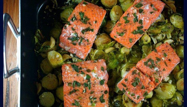 Σολομός με λαχανάκια Βρυξελλών