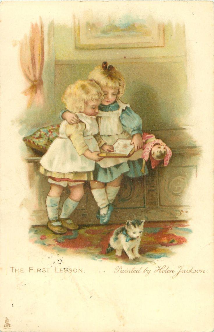 Немецкие старые открытки с детьми, смешные именем яна